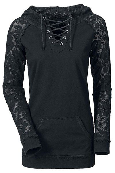 Lace-Up Long Sleeve Hoodie