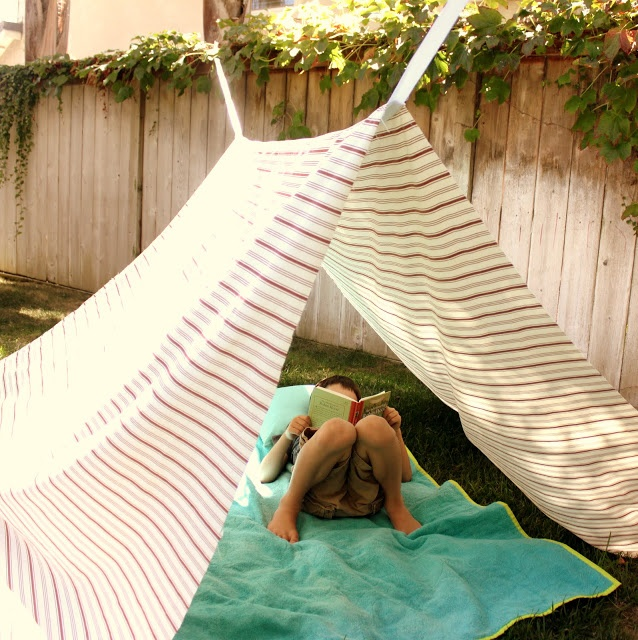 Summertime: Homemade backyard tent.: Privacy Fence, Backyard Camps, Sheet Tent, Reading Tent, Summer Fun, Backyard Tent, Outdoor Reading Nooks, Summerfun, Outdoor Adventure