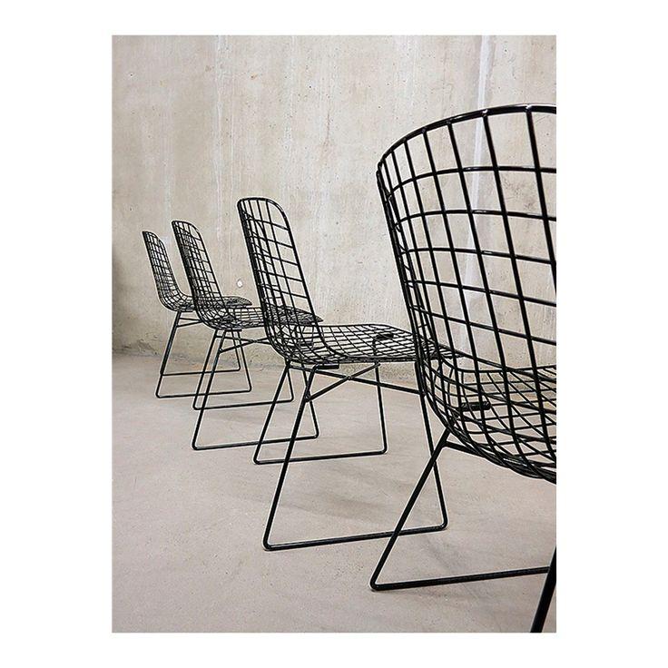 Metalen draad stoel, Zwart