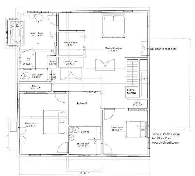 Linda S Dream House 2nd Floor Plan And Master Bathroom Design Linda Merrill Shed House Plans Shop House Plans Floor Plans