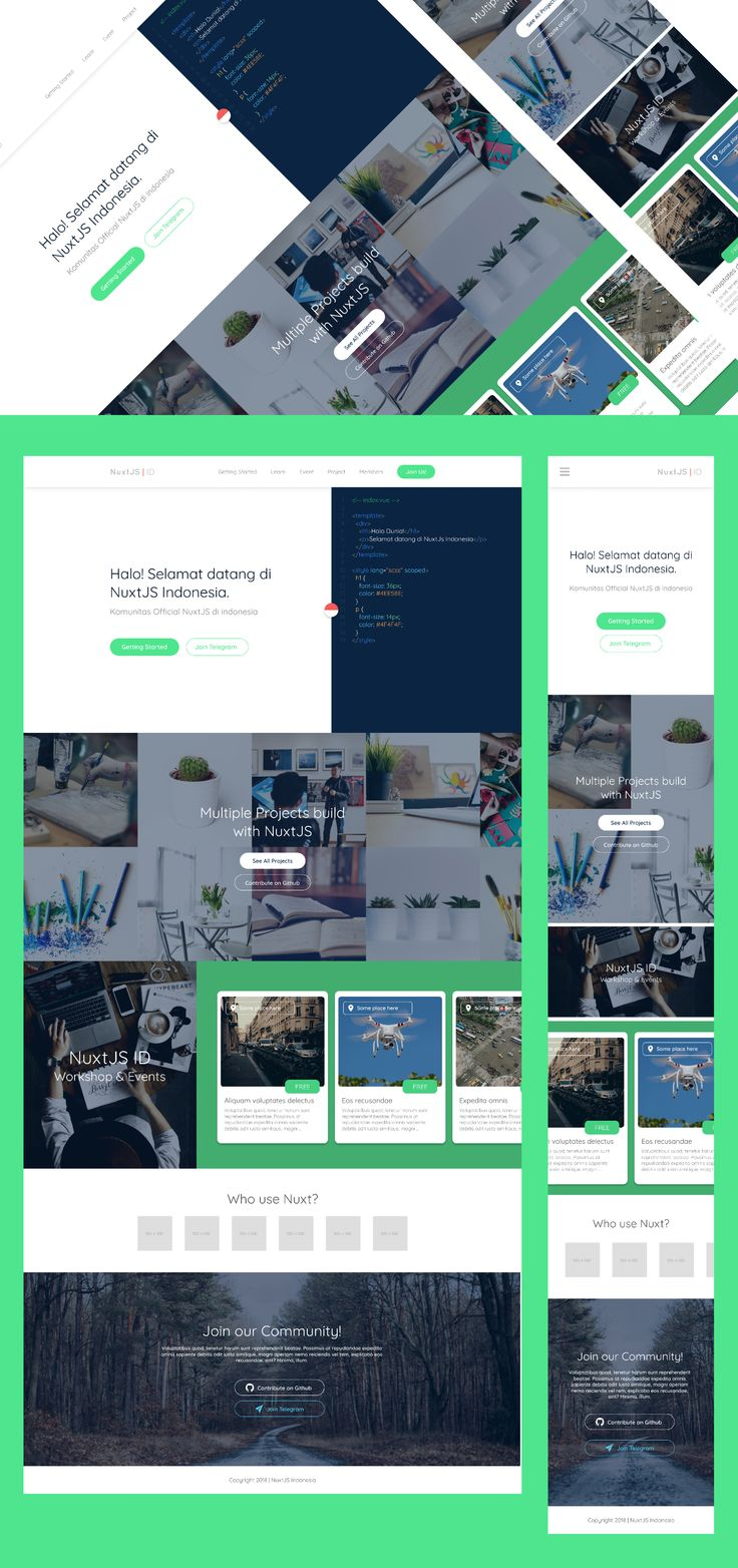 Landing page design for official NuxtJS in Indonesia