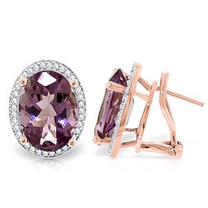 Amethyst and Diamond French Clip Halo Earrings 10.2ctw in 9ct Rose Gold #Gemstones #Jewellery #GemstoneJewellery