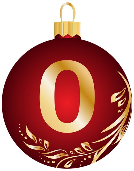 Christmas Ball Number Zero Transparent PNG Clip Art Image