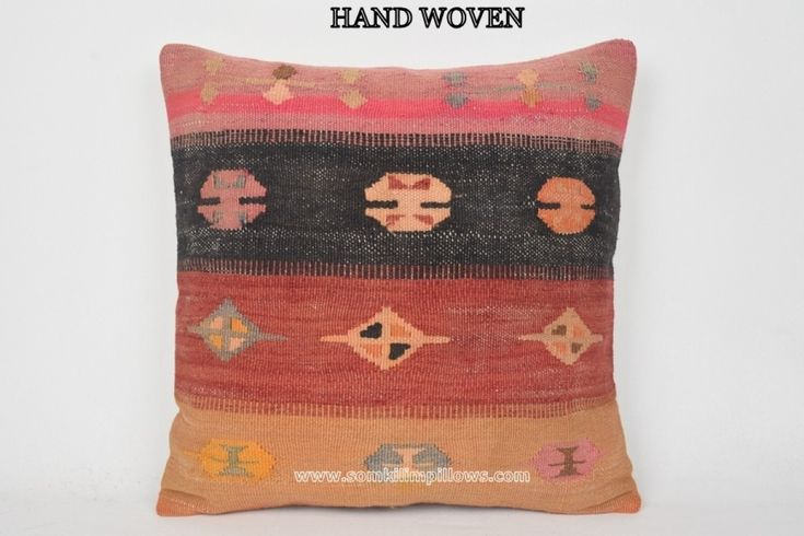 20x20 inches (50x50 cm.) Decorative Cushion, Decorative Sofa Pillow, Turkish Pillow Cover, Art Pillow Cases, Ethnic Designs, Turkish Floor Pillow, Kilim Cojin, Indie Cushions, Outdoor Carpets, Southwestern Home Decor, Kilim Pillows.Wool & cotton vintage Turkish Kilim pillow cover with the hidden
