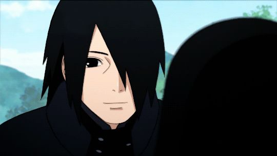 he's smiling... (。>﹏<。)I'm in love with an anime character, and his name is Uchiha Sasuke♡