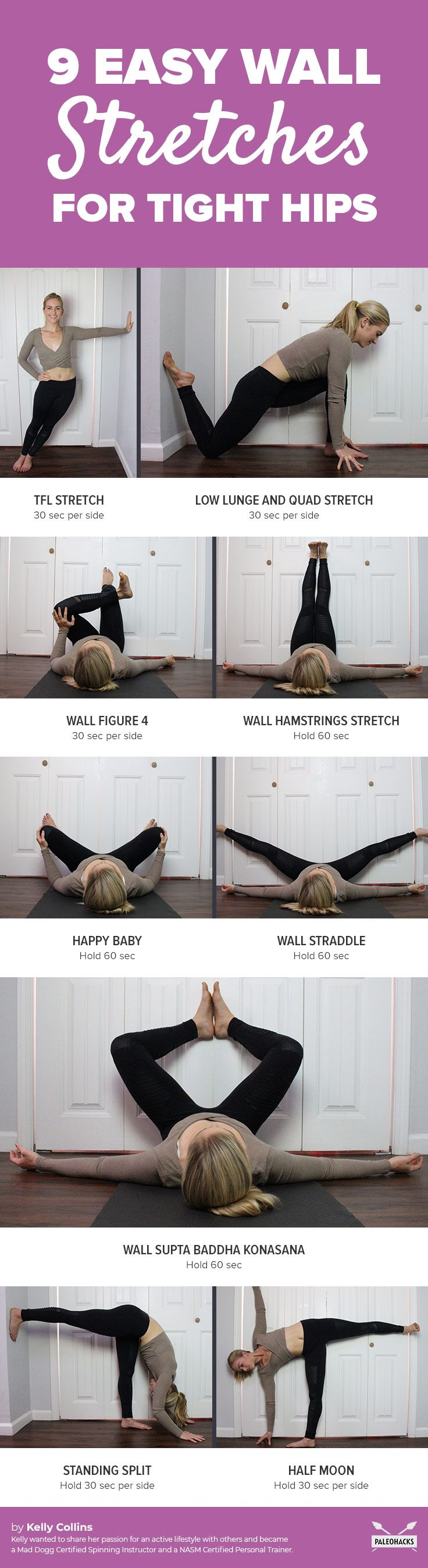 Got tight, painful hips? Do these easy, soothing wall stretches to relieve tension! Get all stretches here: http://paleo.co/wallhipstretches