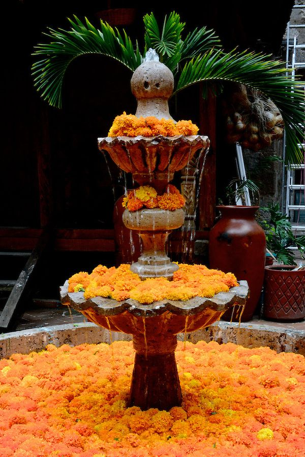 Fountain overflowing with marigolds