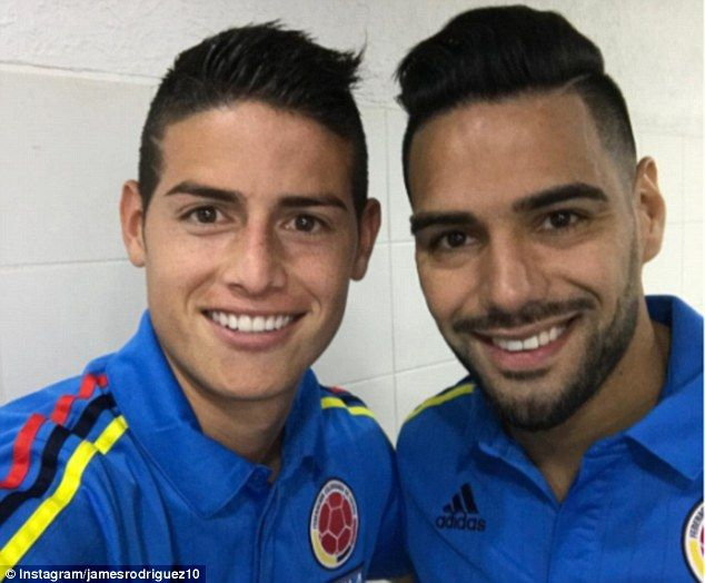 James Rodriguez looks pleased to have Radamel Falcao back in the Colombia national team