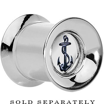 00 Gauge Anchor's Away Reversible Mirror Screw Fit Plug   Body Candy Body Jewelry