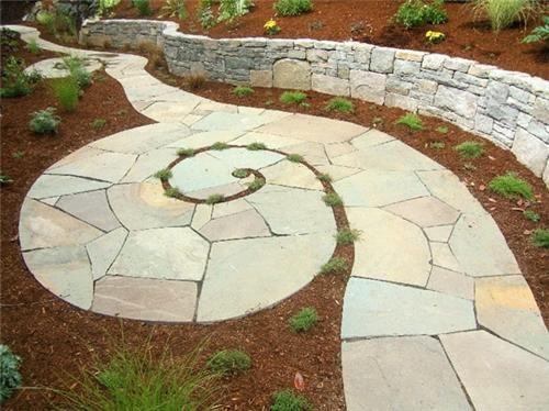 spiraling bluestone walkway/ KCM
