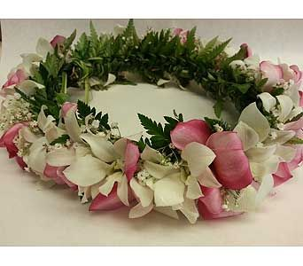 Lei-001 Haku Lei with white pink plumeria