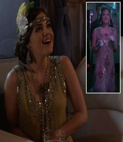 Aria's Halloween Costume (Flapper/Daisy from The Great Gatsby) on Pretty Little Liars.  Outfit details: http://wornontv.net/4731/