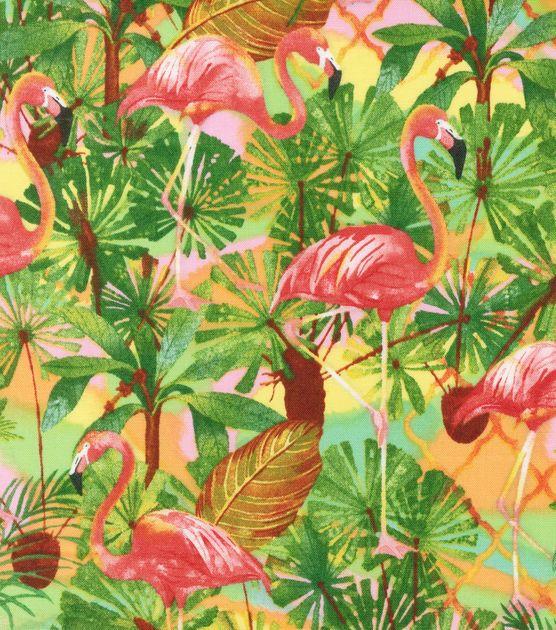 Tropical Fabric Flamingo Island Cotton Flamingos
