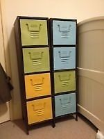 2 towers of vintage painted metal drawers on Gumtree. Two restored shabby chic metal tower units with four drawers each. Some minor imperfections in keepi