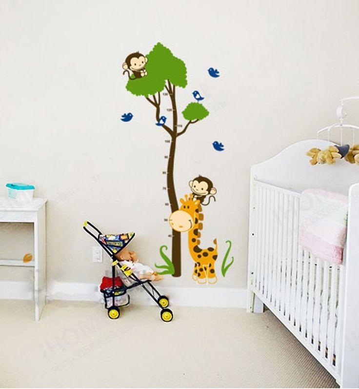 Ufengke® Grünen Baum Niedlichen Affen Giraffe Vögel Messlatten Wandsticker,  Kinderzimmer Babyzimmer Entfernbare Wandtattoos Wandbilder