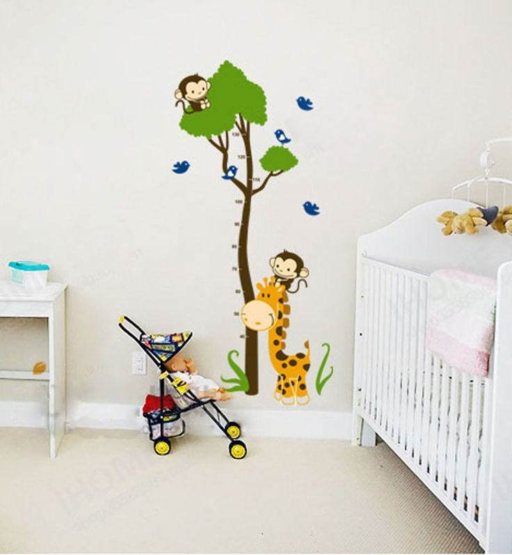 ufengke gr nen baum niedlichen affen giraffe v gel messlatten wandsticker kinderzimmer. Black Bedroom Furniture Sets. Home Design Ideas