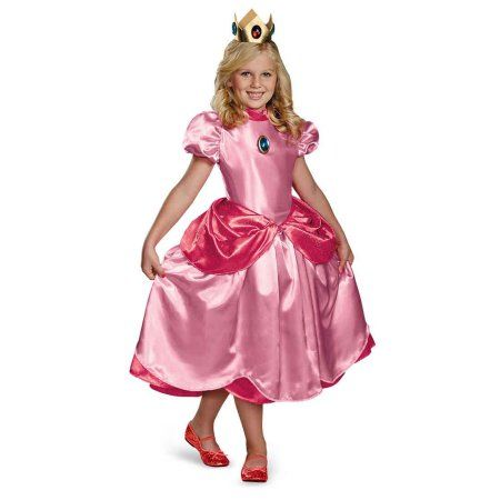 Super Mario Brothers Deluxe Princess Peach Girls' Child Halloween Costume, Size: Small, Multicolor