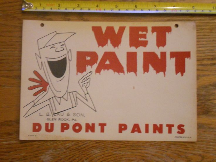 Vintage Dupont Paint Wet Paint Sign Cardboard 1940's 1950's Advertising | eBay