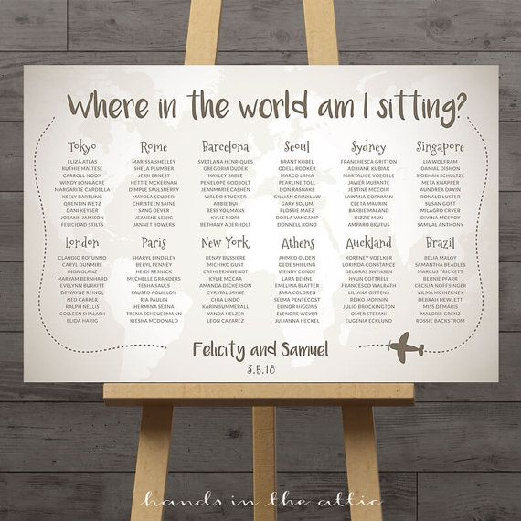 World map wedding seating chart, travel theme city destination table assignment wedding decoration table names large plan diy DIGITAL