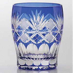 ** Sklenička - modré, broušené sklo ♣ Kiriko **