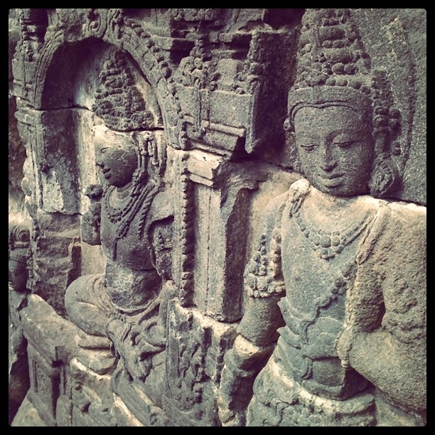 Buddhist carvings in the Borobudur temple