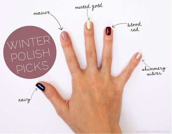 winter polish picks from @LaurenConrad.com { navy, mauve, muted gold, blood red, shimmery silver }