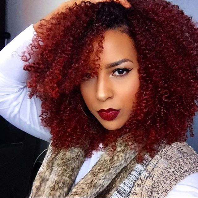 burgundy hair, red hair, afro colored hair, black girl with colorful ...