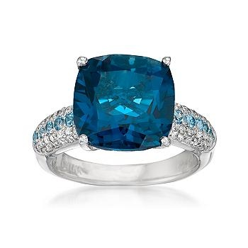 Ross-Simons - 8.00 Carat London Blue Topaz Ring With .50 ct. t.w. Multi-Gems In Sterling Silver - #770227