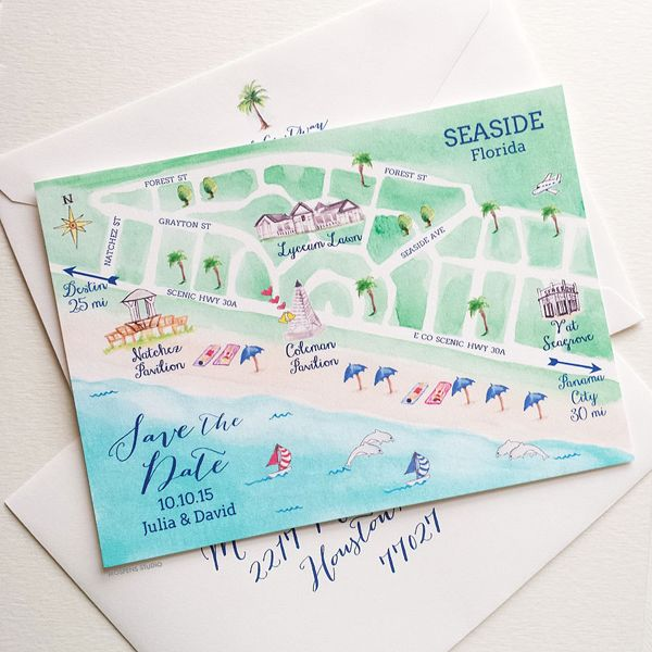 Custom watercolor Seaside Florida Map save the date cards. Perfect for your destination wedding in Seaside. - www.mospensstudio.com