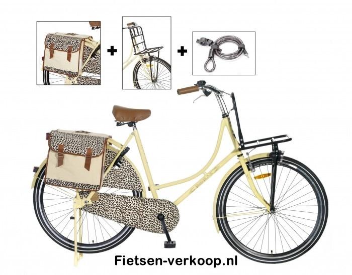 Omafiets Luipaard Bruin Tas & Rek 26 Inch | bestel gemakkelijk online op Fietsen-verkoop.nl