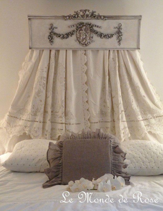 Ciel De Lit En Bois Sculpte : Pediment Bed Canopy Curtains