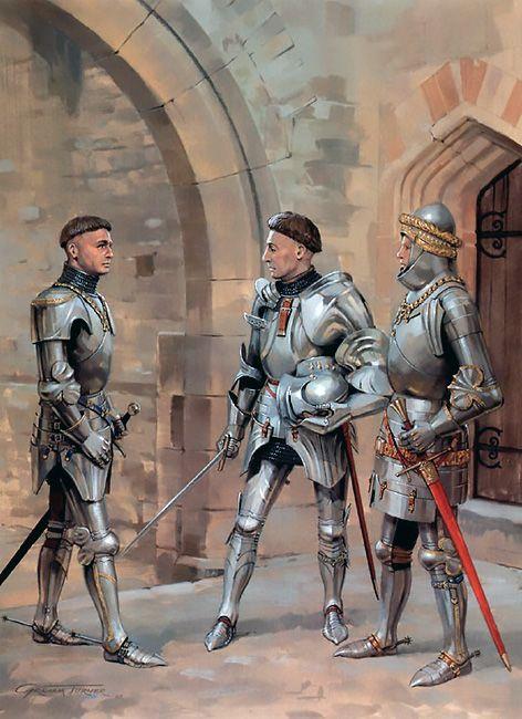 """Later Lances: • Sir John Cressy • Richard Beauchamp, Earl of Warwick • William Philip, Lord Bardolf"", Graham Turner"