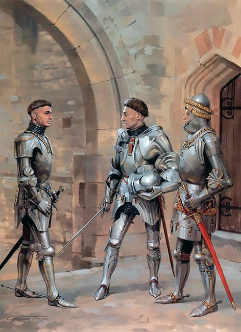 """Later Lances: • Sir John Cressy • Richard Beauchamp, Earl of Warwick • William Philip, Lord Bardolf"", Graham Turner"