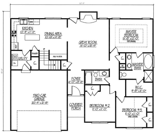 Ranch House Plan 54445 Level One