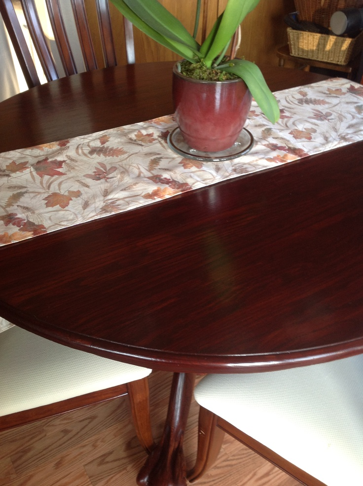Refinished Our 30 Year Old Oak Table With General Finishes Georgian Cherry  Gel Stain. It