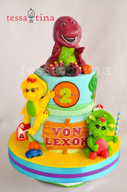 Barney and Friends cake. Reminds me of my 2th birthday cake only it had just Barney on it