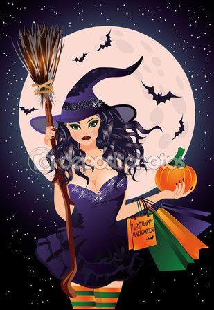 Продажа Хэллоуин. сексуальные ведьмы и тыквы сумки, векторные иллюстрации — стоковая иллюстрация #54881385