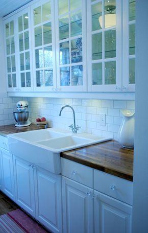 Sally's Sweet Galley Kitchen —  IKEA Lindingo cabinets, IKEA double farmhouse…