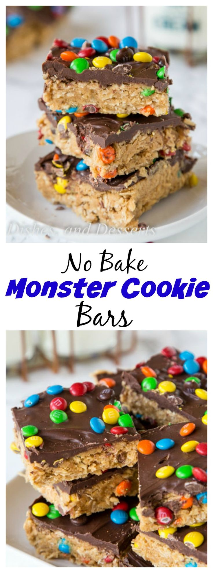 Monster Cookie No Bake Bars – all the flavors of classic monster cookies in a super easy no bake bar recipe.  No heating up the oven to make these!