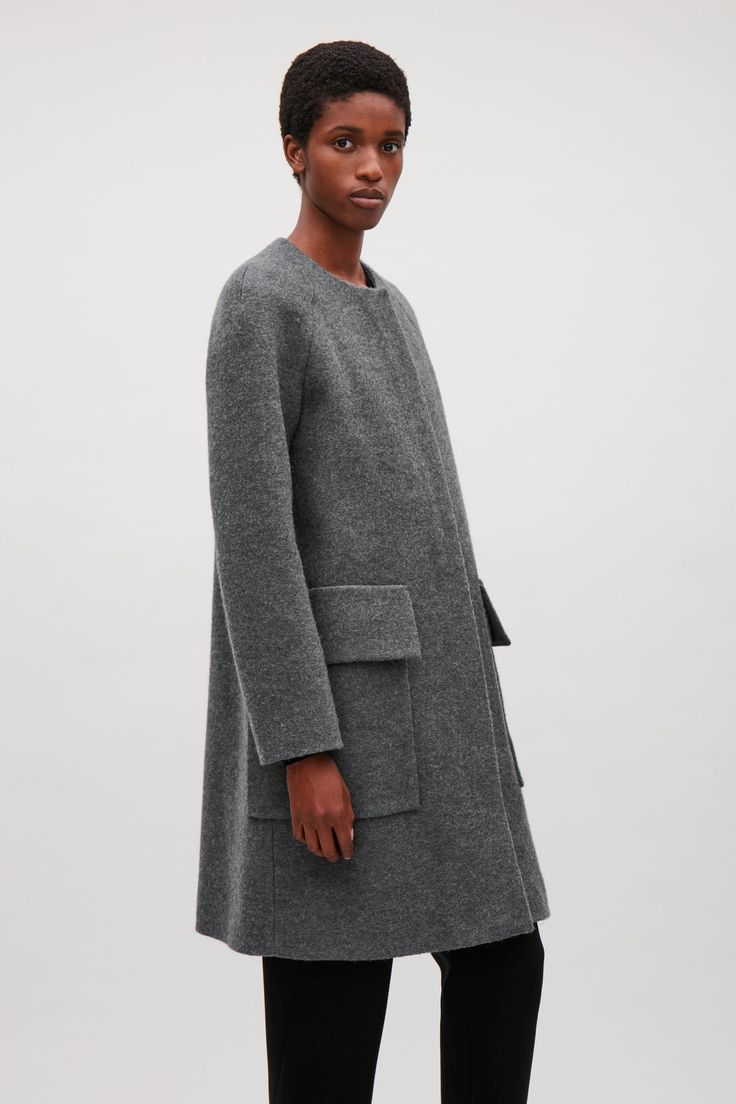 COS image 9 of Round-neck A-line coat in Grey