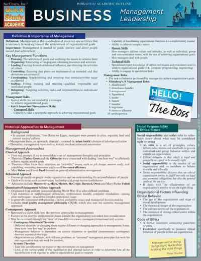 Quick Study Business: Management Leadership