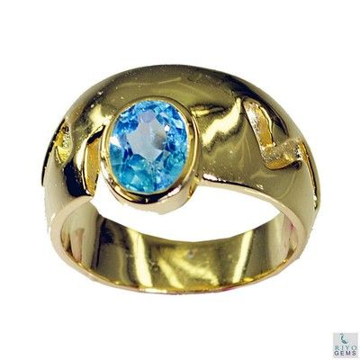 Riyo Blue Topaz Cz 18k Y Gold Plating Ecclesiastical Ring Sz 7 Gprbtcz7 92027 Rings on Shimply.com