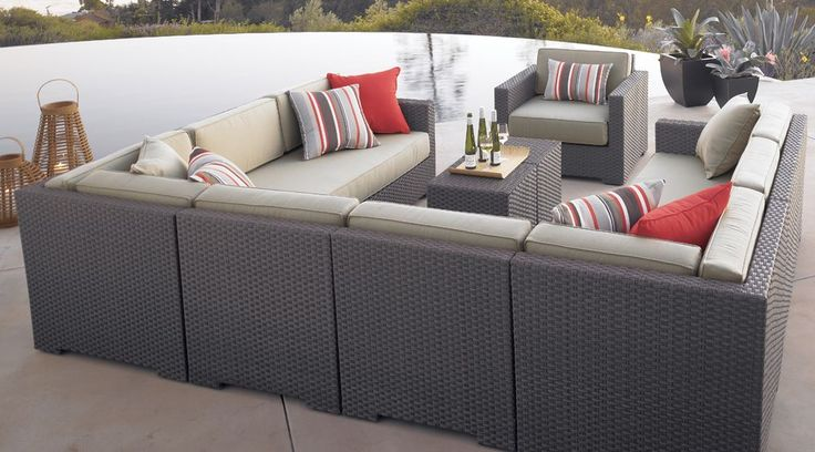 Ventura Umber 6 Piece Loveseat Sectional With Sunbrella