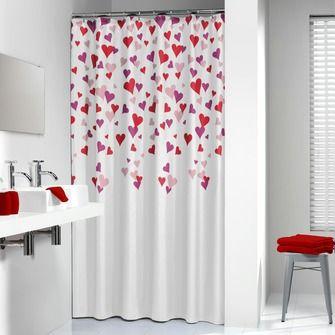 Sealskin Cuori peva douchegordijn roze 180x200 cm | Douchegordijnen | Badkameraccessoires | Sanitair | KARWEI