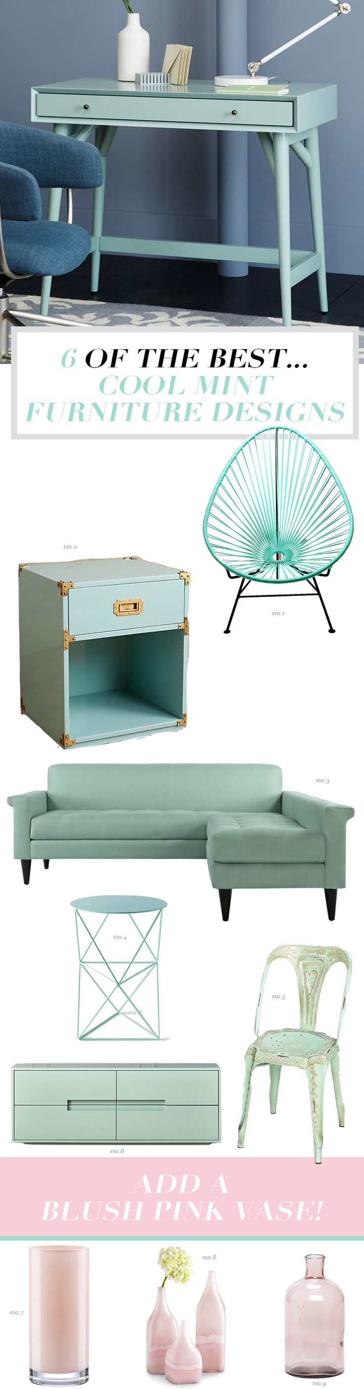 Do you love mint? Want to bring color into your home, bedroom or living room design. Check out my round up of the six best cool mint furniture pieces including mint chairs, sofas and sideboards. So many decor ideas for your whole home. Click through to see all the details!