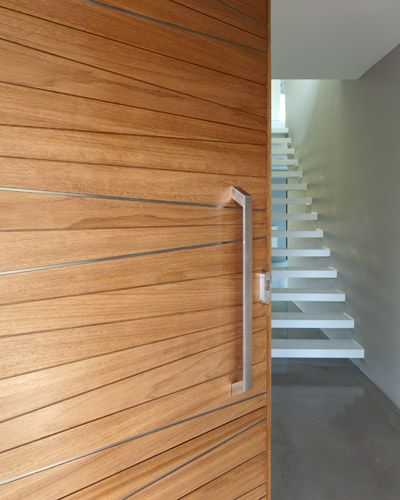 Urban Front - Contemporary front doors UK and white floating staircase.Love it