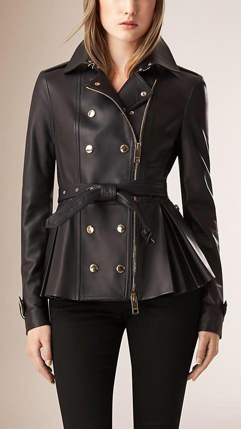 Need this Burberry Peplum Pleated Black Leather Jacket