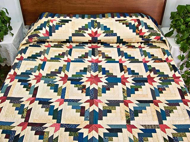Timberline Log Cabin Quilt -- terrific specially made Amish Quilts from Lancaster (hs4368)