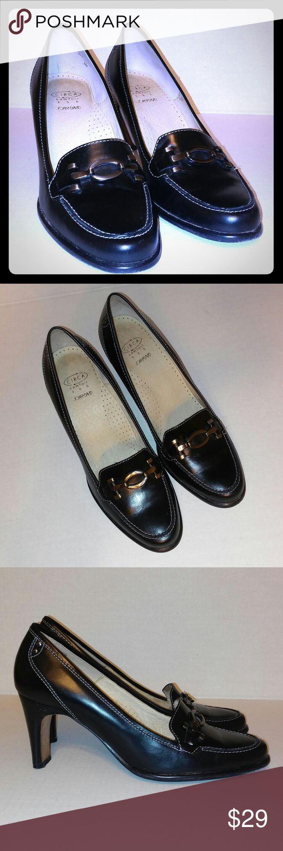"JOAN & DAVID Circa Comfort 365 Leather Loafers JOAN & DAVID Circa Comfort 365 Leather Black High Heel Loafers   Shoe Size & Measurements:  Sizing: Women 8 M Width: Medium 3.25"" at the widest?  9.5"" toe to heel length  3"" heel Joan & David Shoes Heels"