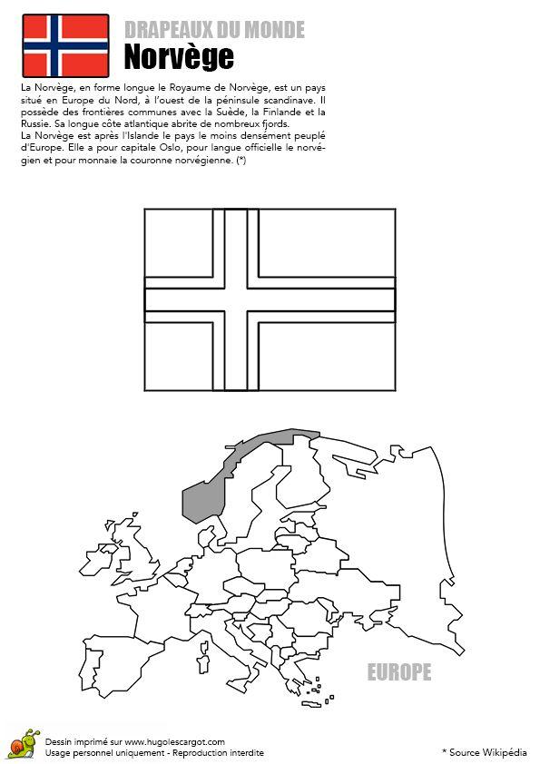 Le drapeau d'un pays européen, le Norvège, à colorier.